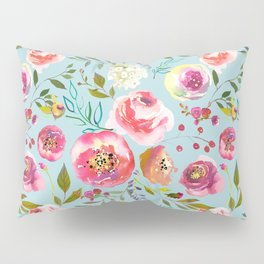 pink and blue watercolor peonies Pillow Sham