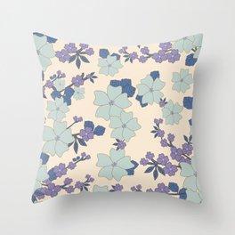 Flowers, Petals, Leaves, Blossoms - Blue Purple Throw Pillow