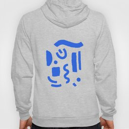 Brush Stroke Minimal 19 - Abstract Pattern Shapes Modern Mid Century Texture Blue. Gift idea Home deco Hoody