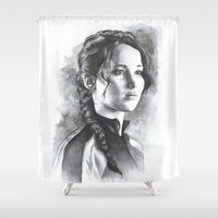 katniss Shower Curtains featuring Katniss by Nienke Feirabend