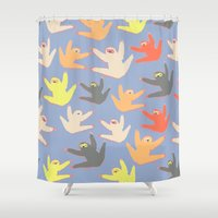 sloths Shower Curtains featuring Print with sloths by Darish