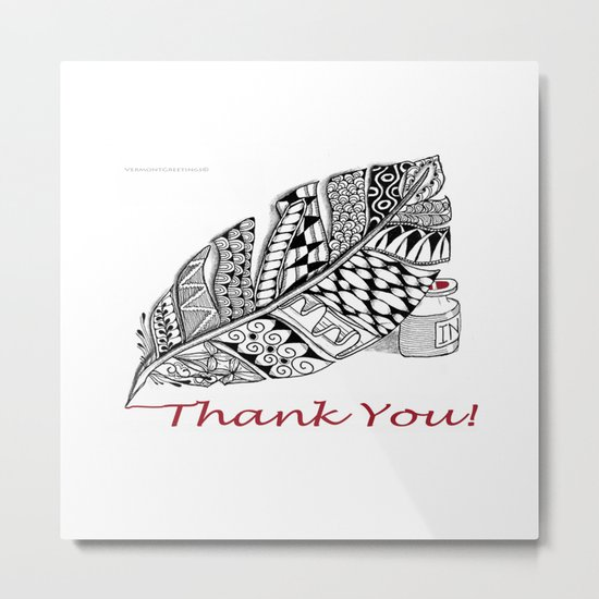 Zentangle Thank You - Black and White Illustration Metal Print