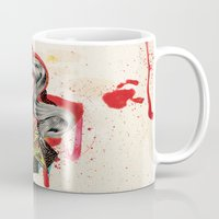 woman Mugs featuring Woman by Felicia Cirstea