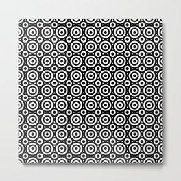 Black & White Geometric Circles Pattern Metal Print