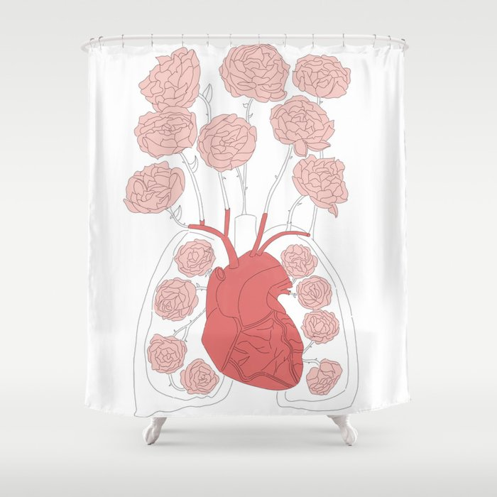 Lungs And Heart Floral Anatomy Shower Curtain