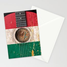 Old Vintage Acoustic Guitar with Mexican Flag Stationery Cards