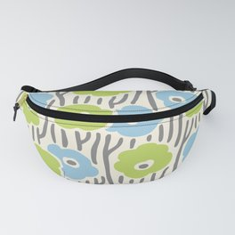 Mid Century Modern Wild Flowers Light Blue, Chartreuse and Gray 377 Fanny Pack