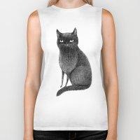 black cat Biker Tanks featuring Black Cat by Sophie Corrigan
