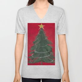 BLANK - Christmas Tree with Garland and Star on Red. Unisex V-Neck