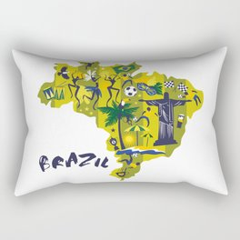 Abstract Brazil Soccer Mural Rectangular Pillow