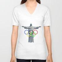 rio V-neck T-shirts featuring RIO OLYMPICS by burga