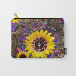 CONTEMPORARY  YELLOW SUNFLOWER CLOCK PURPLE ARTWORKS Carry-All Pouch