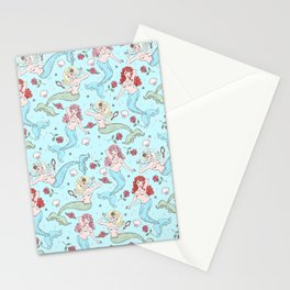 Mermaids and Roses on Aqua Stationery Cards