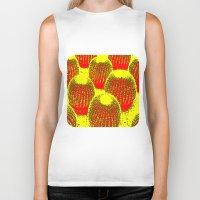 cacti Biker Tanks featuring Orange Cacti  by Ethna Gillespie
