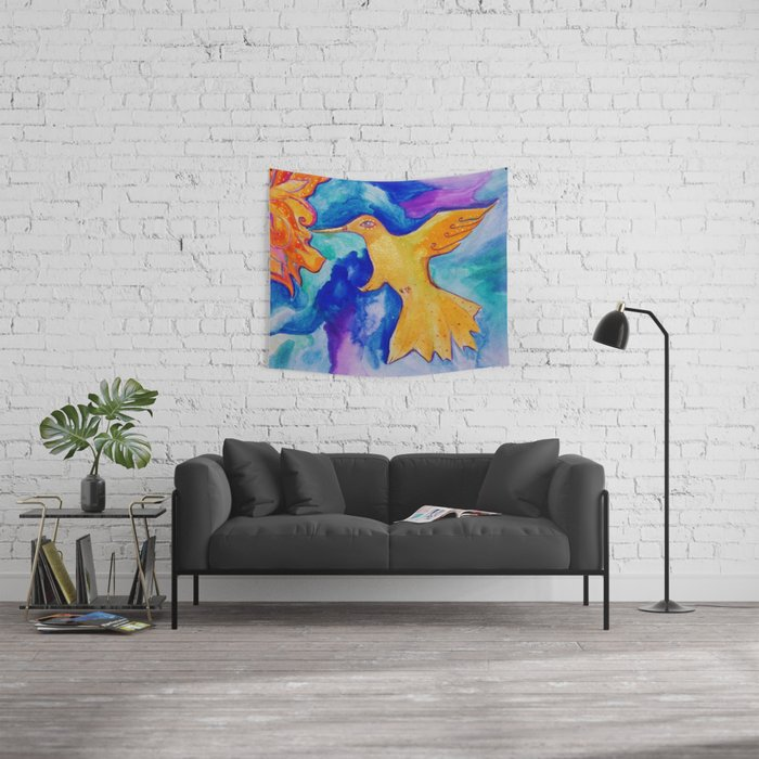 Watercolor Sun Bird Modern Fine Art Painting by Garden Of Delights Wall Tapestry