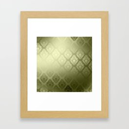 """Olive Damask Pattern"" Framed Art Print"