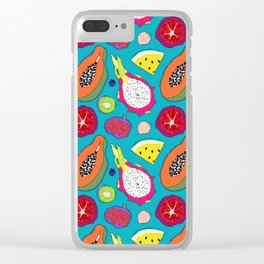 Seedy Fruits in Teal Blue Clear iPhone Case