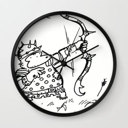 Fantasy Archer Ape Shoots Spiky Bow Wall Clock