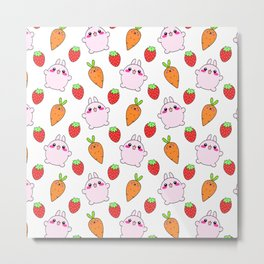 Cute funny Kawaii pink little baby bunnies, happy orange carrots and ripe juicu summer strawberries adorable lovely pattern design. Nursery decor ideas. Metal Print