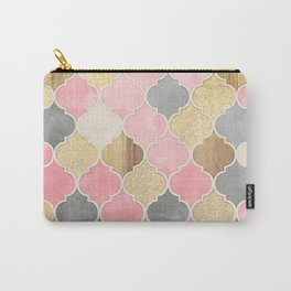 Silver Grey, Soft Pink, Wood & Gold Moroccan Pattern Carry-All Pouch