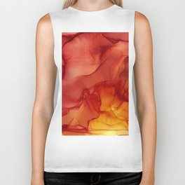 Red Sunset Abstract Ink Painting Red Orange Yellow Flame Biker Tank