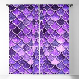 Pantone Ultra Violet Glitter Ombre Mermaid Scales Pattern Blackout Curtain