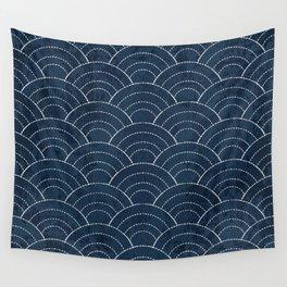 Navy Sashiko waves pattern Wall Tapestry