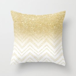 Modern gold ombre chevron stitch pattern Throw Pillow