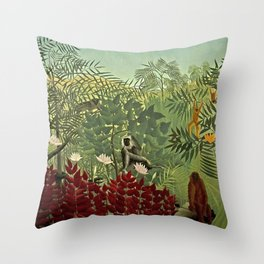 Classical Masterpiece 'Tropical forest with monkey and snake' by Henri Rousseau Throw Pillow