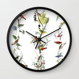Birds - Art - Vintage - Pattern - Illustration - Nature Wall Clock