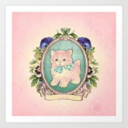 Kitschy Pink Kitten Art Print