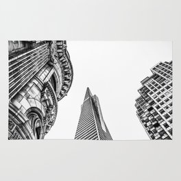 pyramid building and modern building and vintage style building at San Francisco, USA in black and w Rug