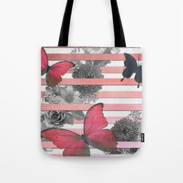 Butterflies Pink Stripes & Grayscale Flowers Tote Bag