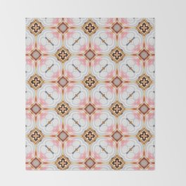 Gold Buttons Pink and White Pattern Throw Blanket