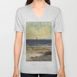 "Gustave Courbet ""Seaside, Palavas (Bords de la Mer, Palavas)"" Unisex V-Neck"