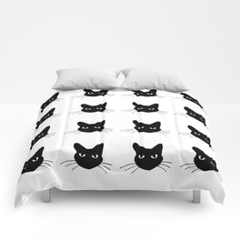 Black and white cute cats pattern Comforters