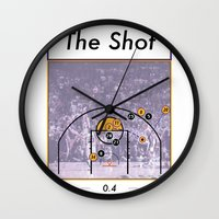 lakers Wall Clocks featuring The Shot Series, Derek Fisher by Dyllin Shane