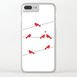 Red birds - winter talk Clear iPhone Case