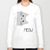 meow Long Sleeve T-shirts featuring Meow by Hugh & West