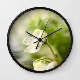 White Blossom Flower Green Leaves #decor #society6 Wall Clock