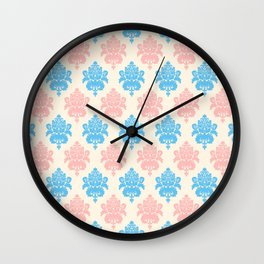 Coral blue ivory vintage chic floral damask pattern Wall Clock