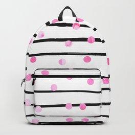 Blush pink black watercolor modern stripes polka dots Backpack