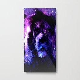 Lion leo purple Metal Print