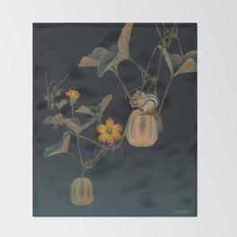 Gourd Vine and Chipmunk Throw Blanket