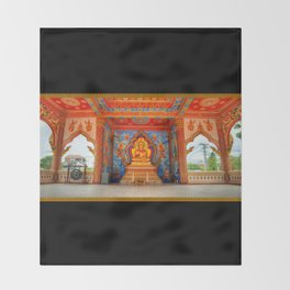 Golden Temple Laos Throw Blanket