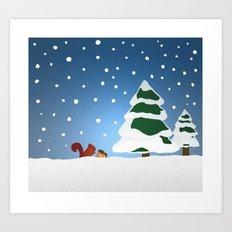 Winter doodle Art Print