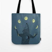 ilovedoodle Tote Bags featuring Moon Juggler by I Love Doodle