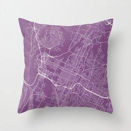 Chattanooga Map, USA - Purple Throw Pillow