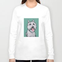 levi Long Sleeve T-shirts featuring Levi the Miniature Schnauzer by Pawblo Picasso