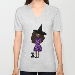 Cute Witch and Black Cat Unisex V-Neck